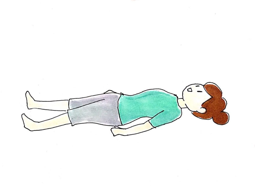 仰向けに寝る
